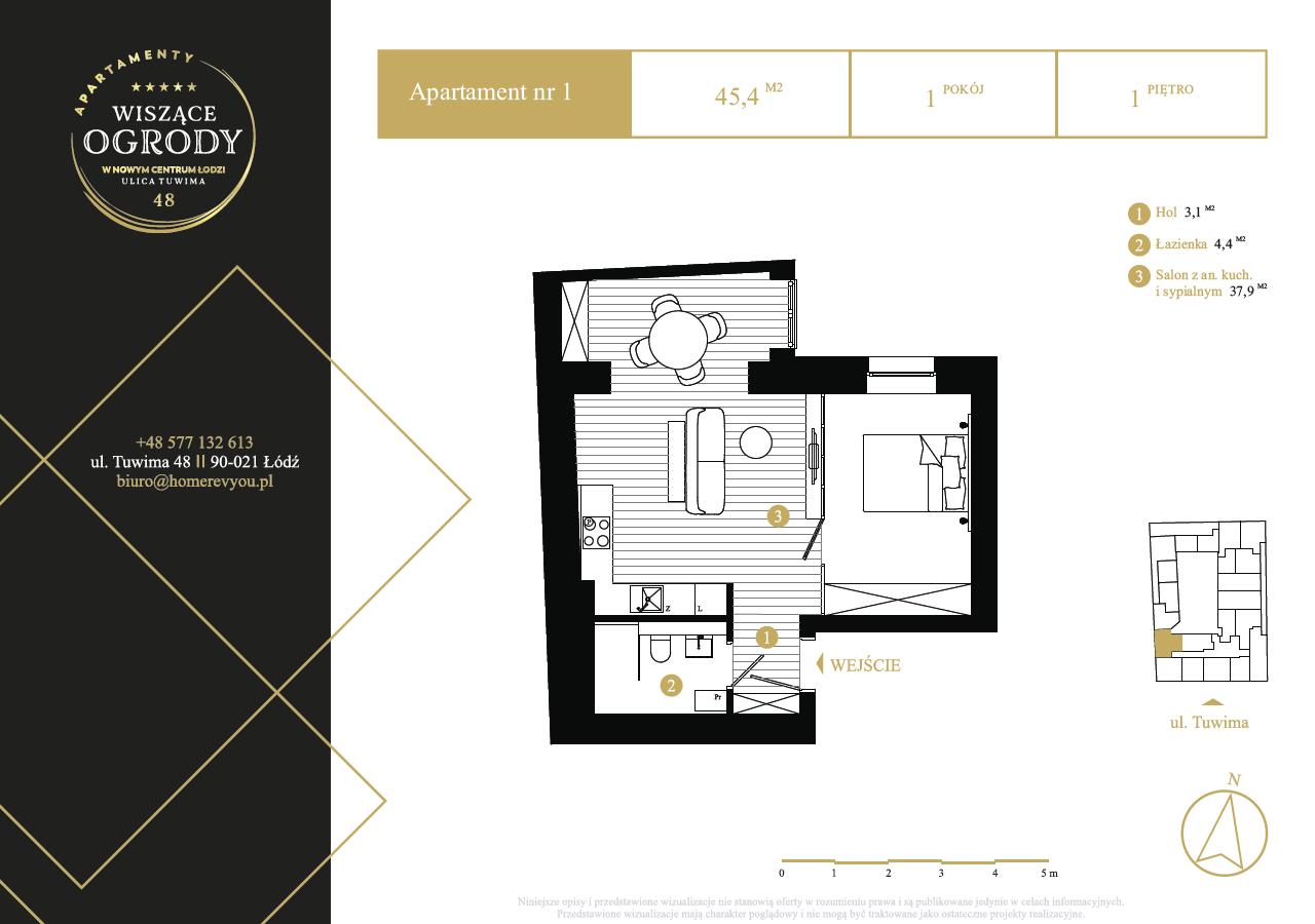 1 piętro, apartament nr 1