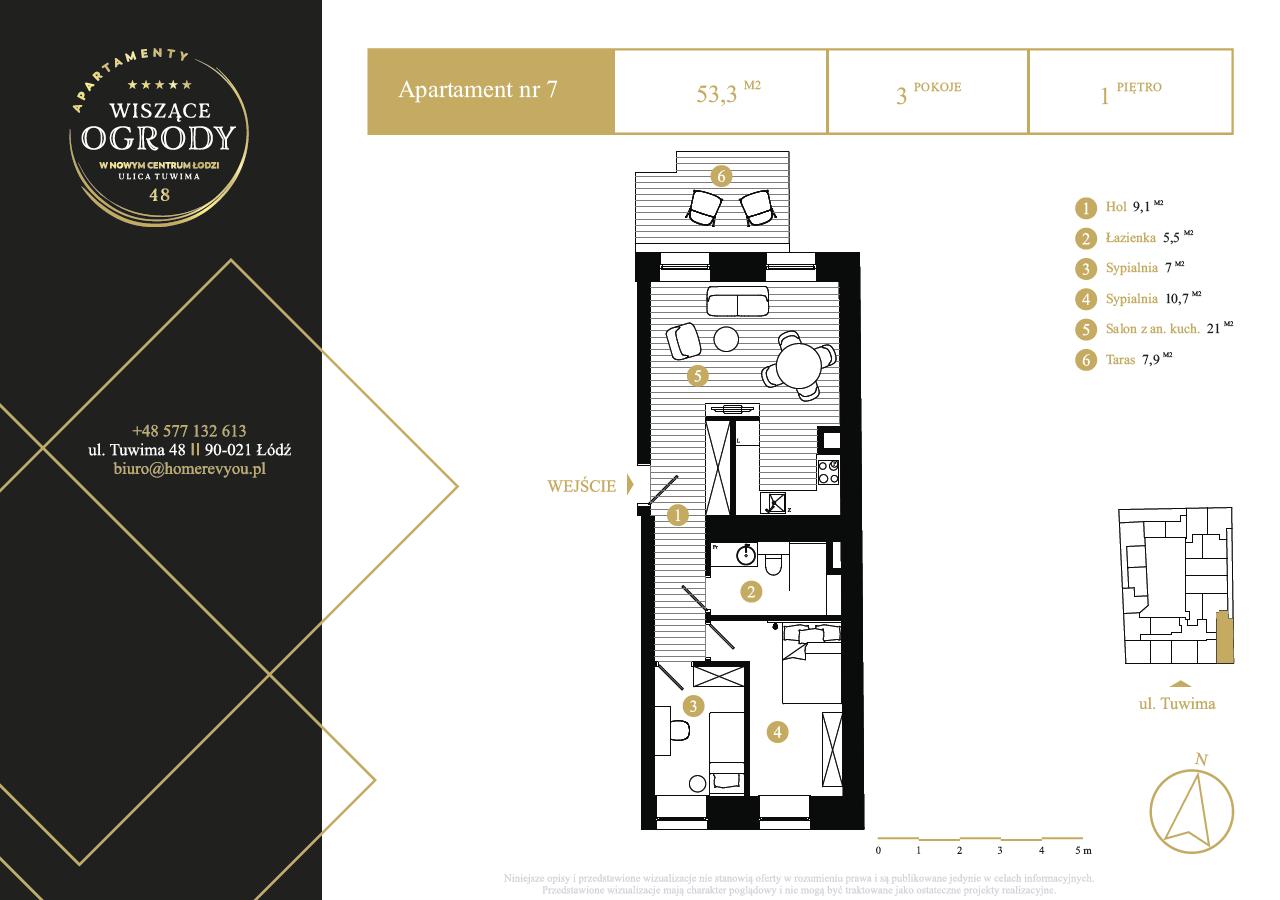 1 piętro, apartament nr 7