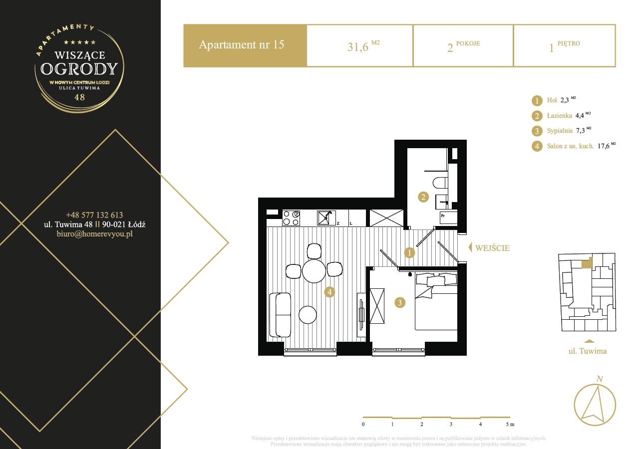 1 piętro, apartament nr 15