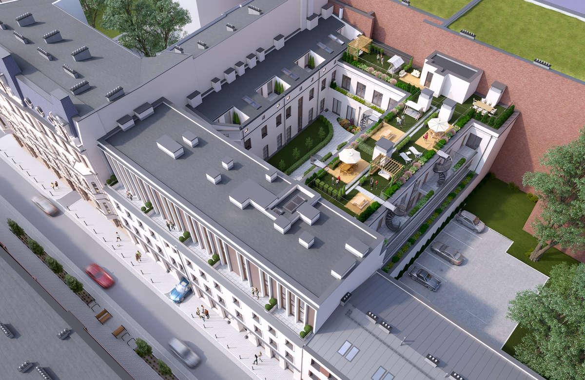 Wizualizacja z góry - Apartamenty Wiszące Ogrody w Łodzi, ul. Tuwima 48